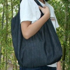 Denim and Check Shoulder Bag