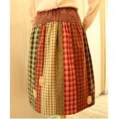 Vivid Check Patch work Skirt
