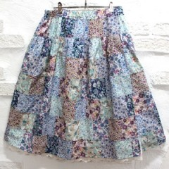 [HLK_436] Liberty Patch work Skirt(blue)