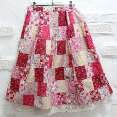 [HLK_439] Liberty Patch work Skirt(pink)